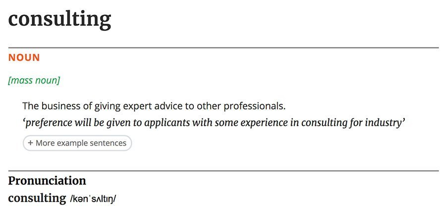 Definition of the word consulting according to the Oxford dictionary