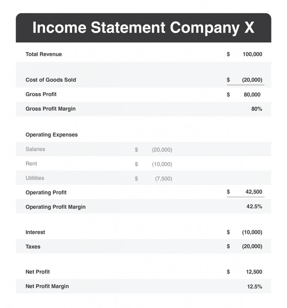 Example of a company's Income Statement