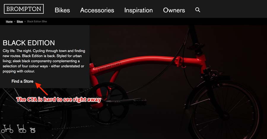 Example of product page with nearly invisible CTA button.