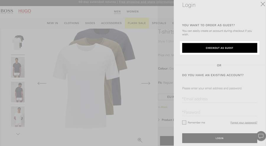 Cart overview with guest checkout option at HugoBoss.com