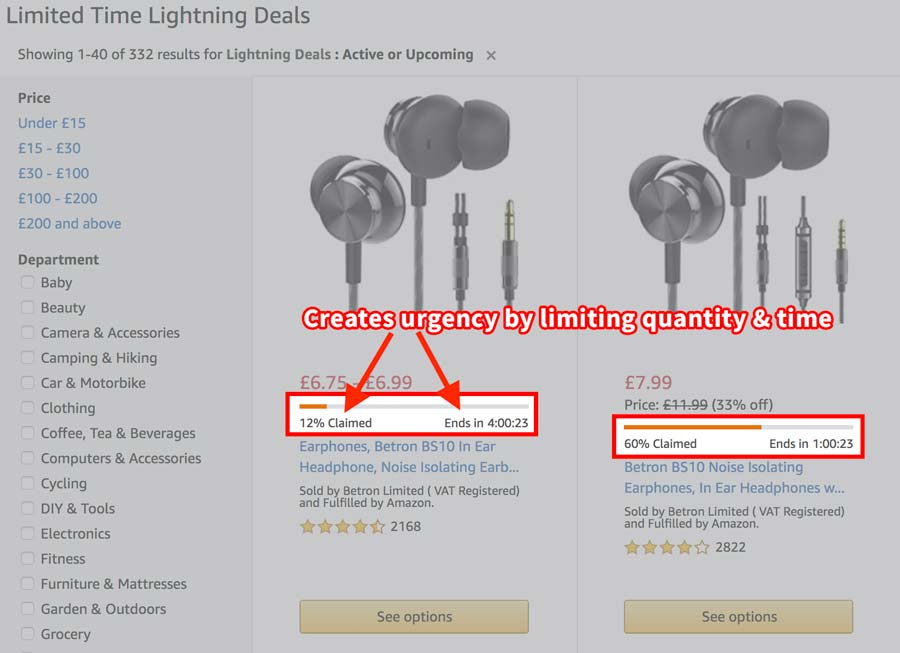 Screenshot of two Amazon Lightning Deals with quantity and time limits to increase the conversion rate of its promotional offers.