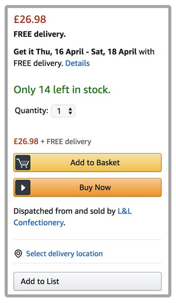 Limited Stock Message on Amazon Product Detail Page