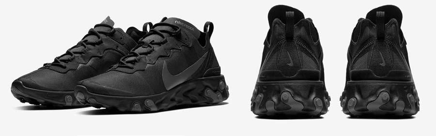 Pair of black Nike running shoes.