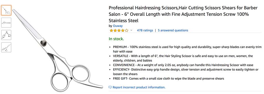 Hair sizzor on Amazon Product Page