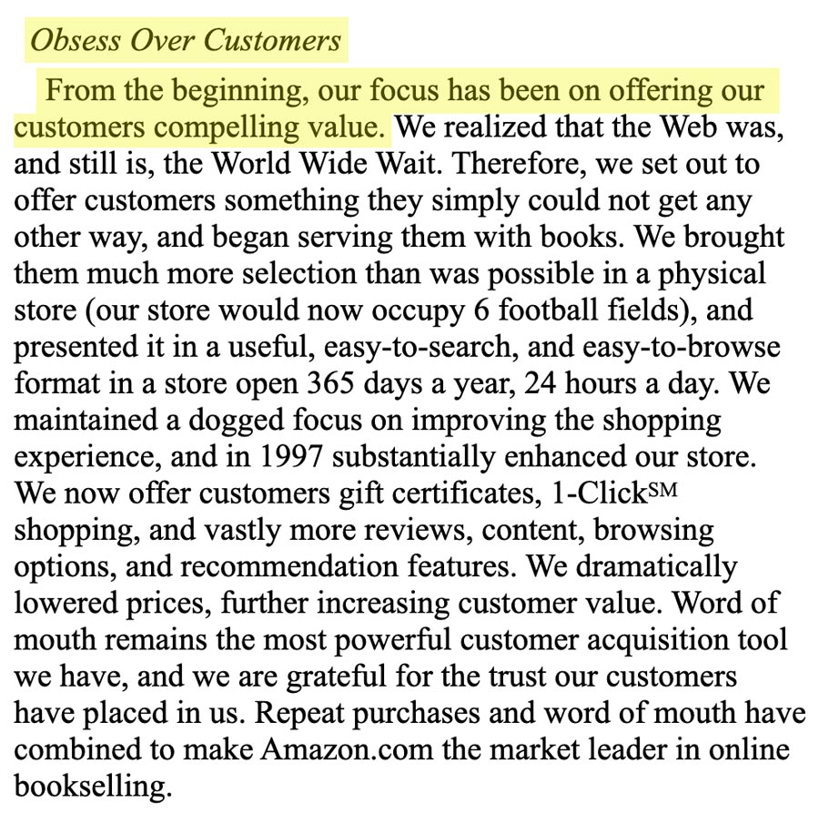 Excerpt of Amazon's Shareholder Letter from 1997