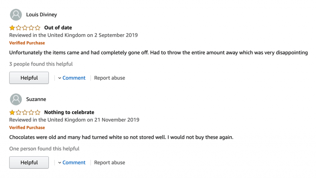 Customer Complaints Example on Amazon