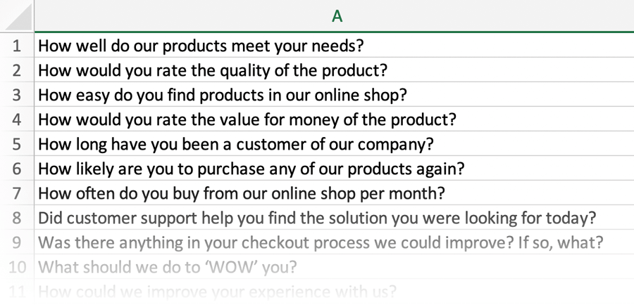 Examples of Customer Survey Questions