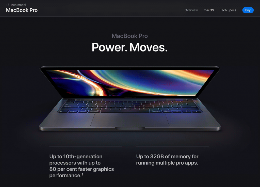 Apple's online store showcases its Macbook Pro model with clear and bold copy