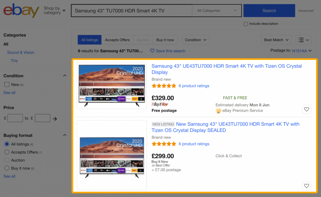 "Search results for ""TV"" on eBay"