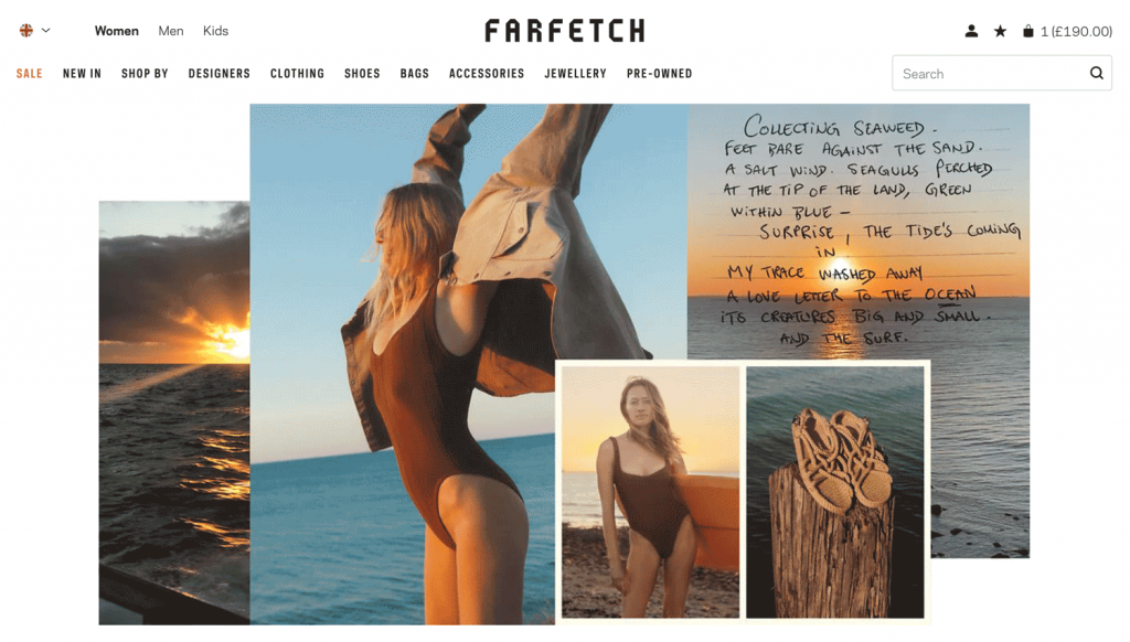 Lifestyle images of Farfetch's models showcase their products in real life