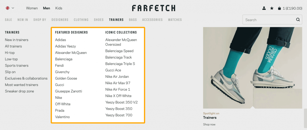 Fashion retailer Farfetch supports a great customer experience by presenting its product range with a clear and clean site navigation structure