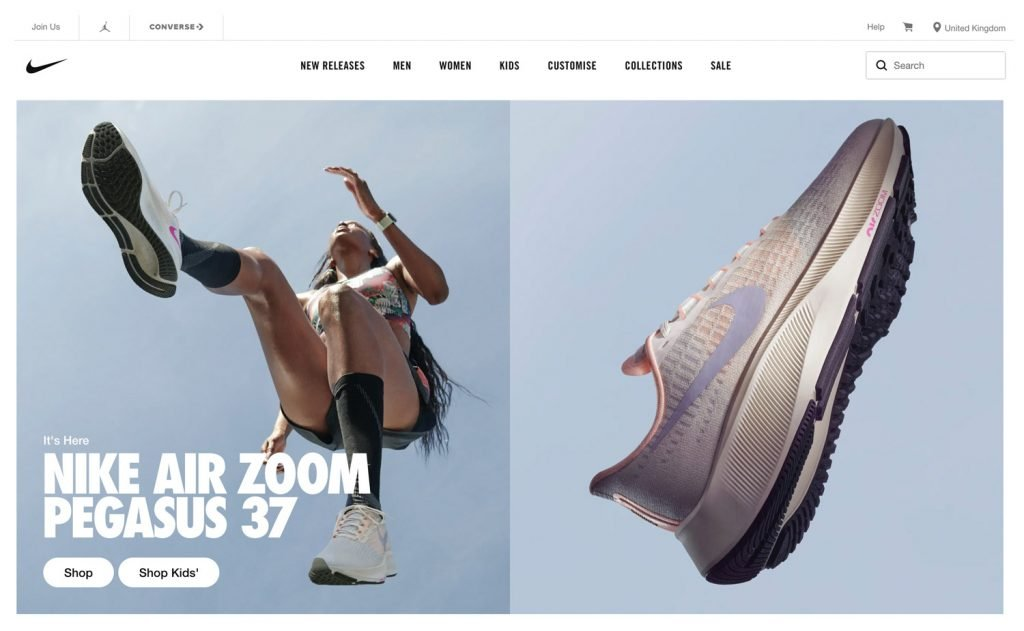 Example of good product imagery from the Nike online store