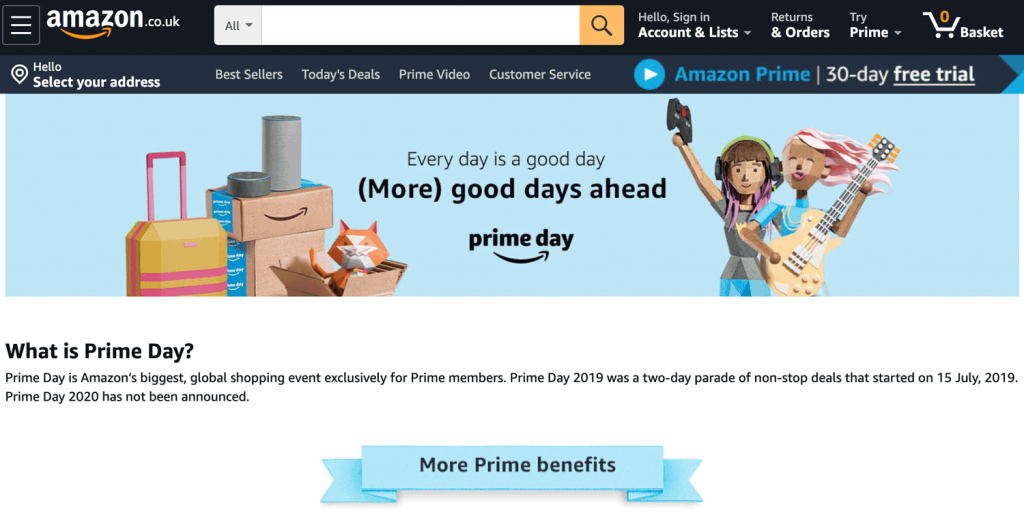 Amazon Prime Day Banner Homepage