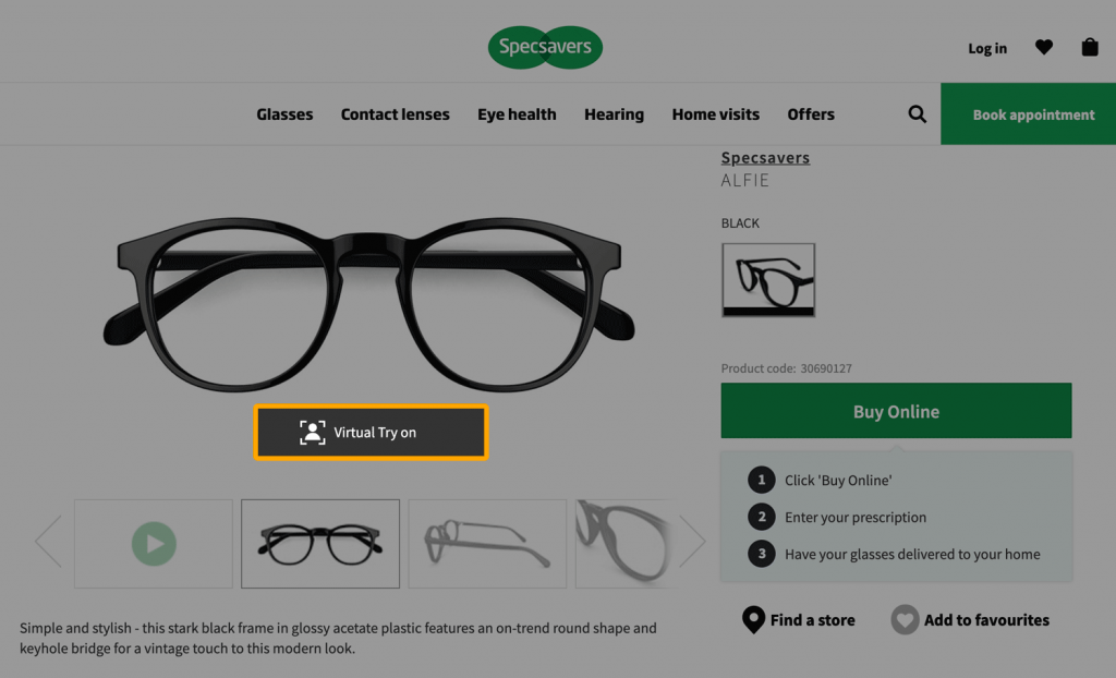 Example of a virtual try on function in an online shop for glasses