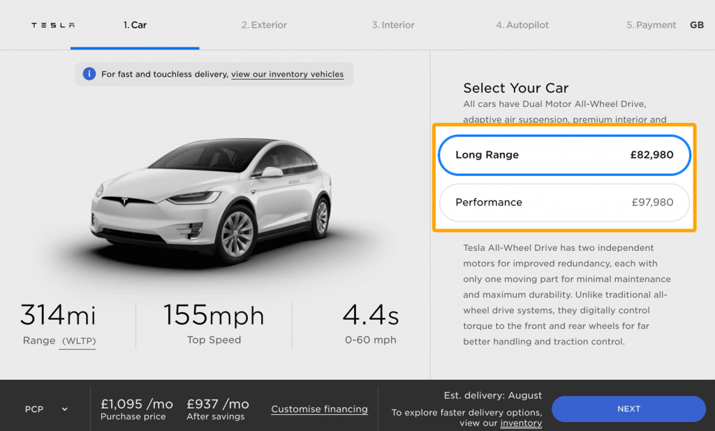 Tesla offers entry-level options that can be upgraded in its online shop