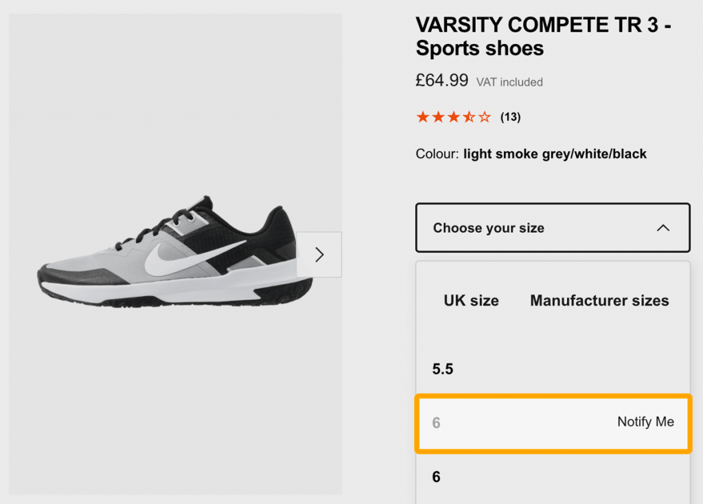 Zalando gives users the option to get notified when being out of stock on a product.