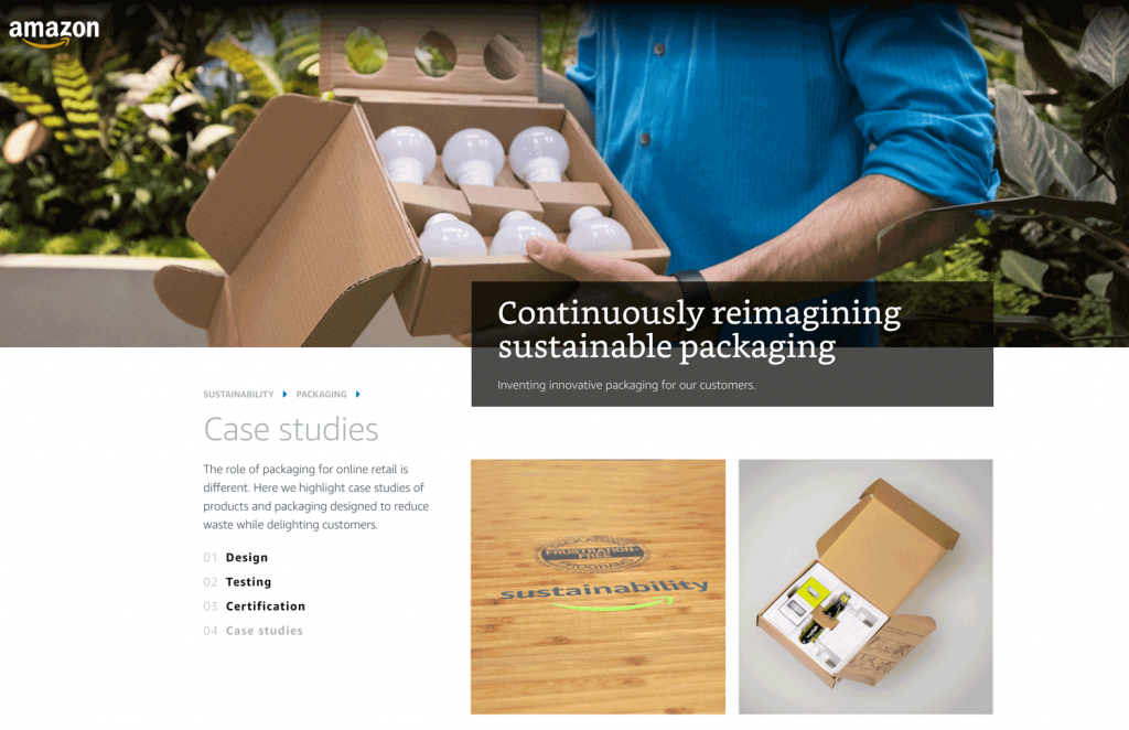 Amazon offers guides to design, test and certify products that ship in their own container (SIOC)