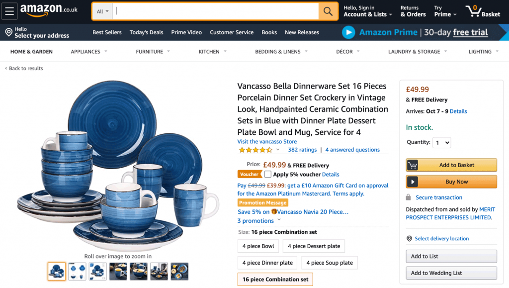 An example of a tableware seller on Amazon