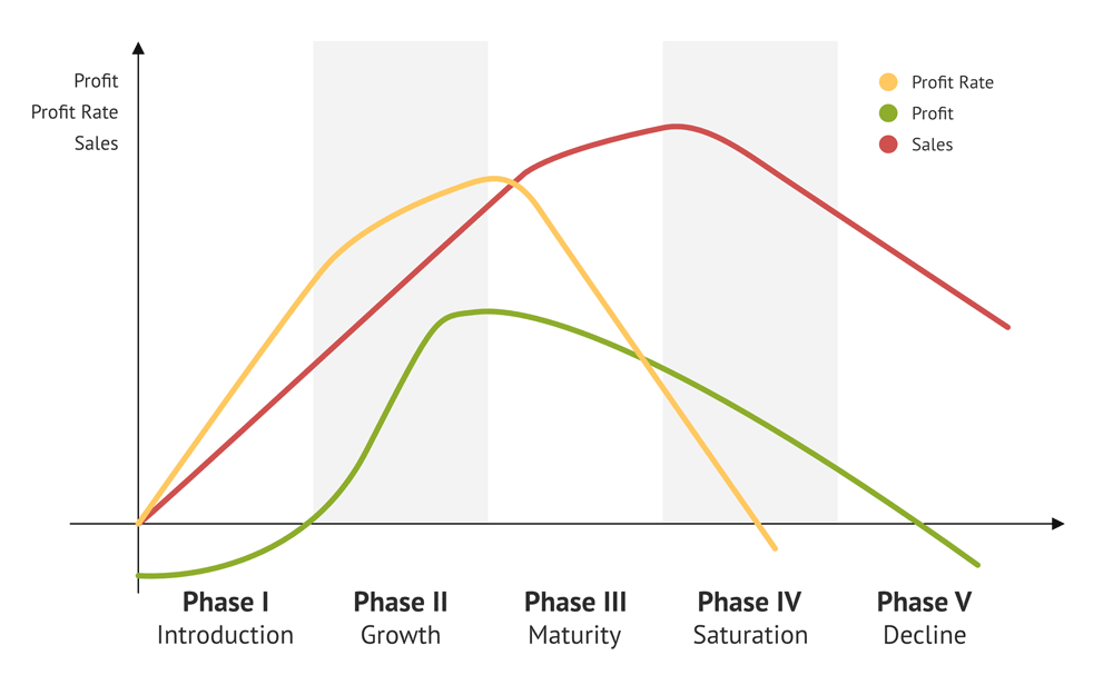 The profit and sales performance during the product life cycle