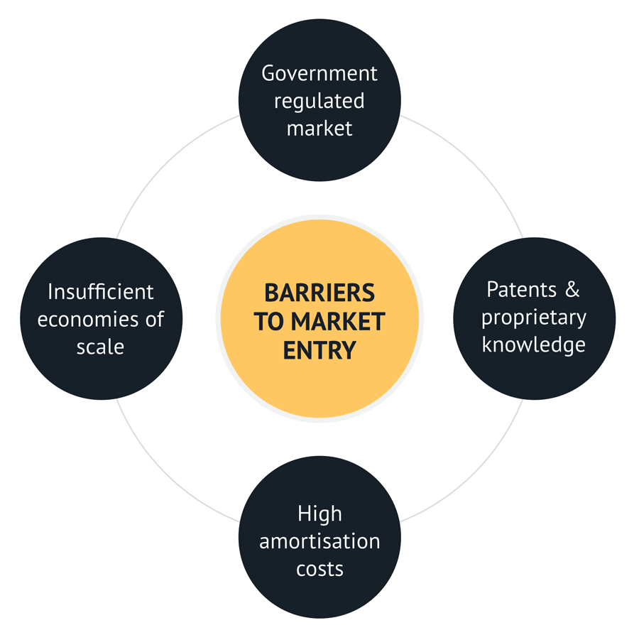 Typical examples of barriers to enter a market