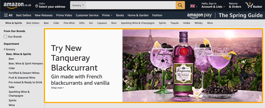 A typical example of a category page retail ad.