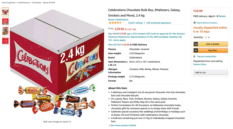 Example of Celebrations Bulk Box 2.4kg that launched in 2018 on Amazon in the UK